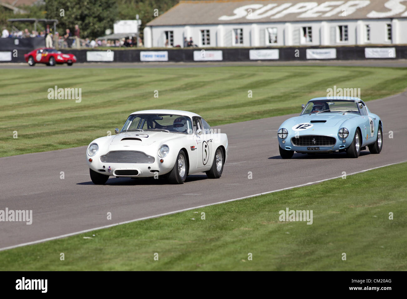 Goodwood Estate, Chichester, UK. 15th September 2012. 1960 Aston Martin DB4GT and Ferrari 250 GTO SWB/C pictured - Stock Image