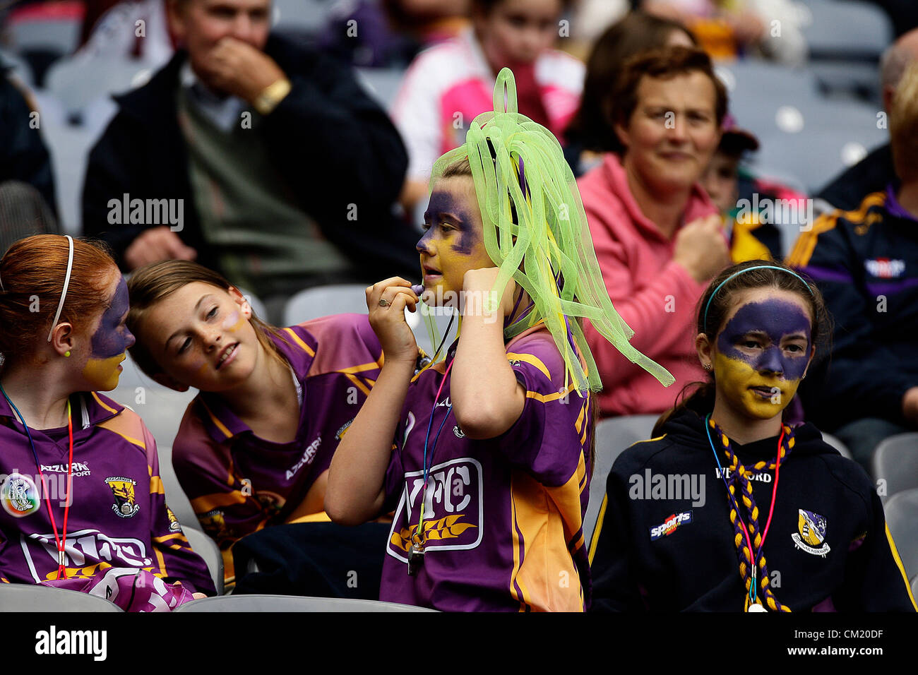 REPRO FREE - 16 September 2012 - Croke Park,  DUBLIN- Ireland - Wexford's fans getting the makeup before todays - Stock Image