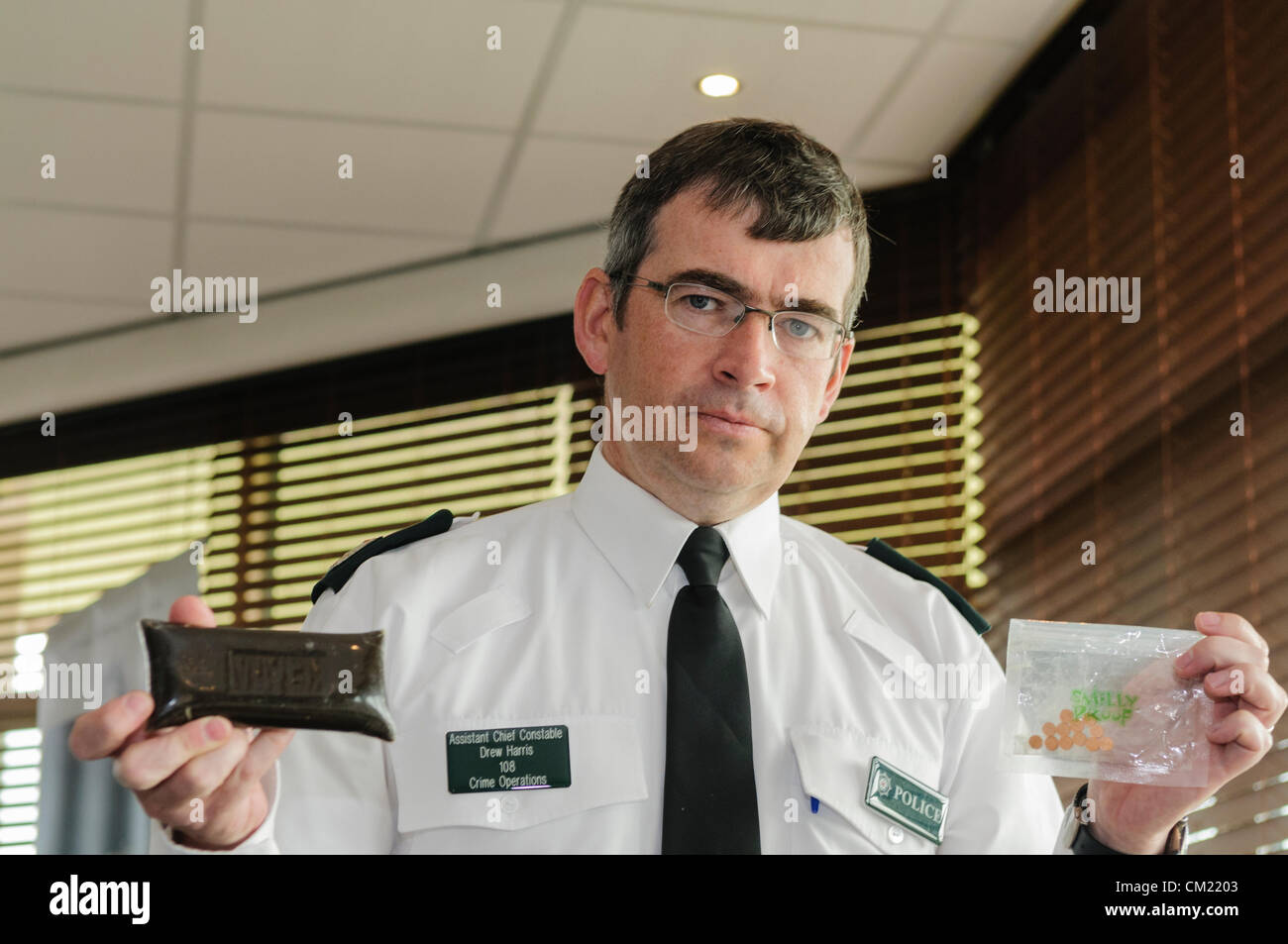 Belfast 17/09/2012 - PSNI Assistant Chief Constable Drew Harris launches their anti-drugs campaign 'Operation - Stock Image