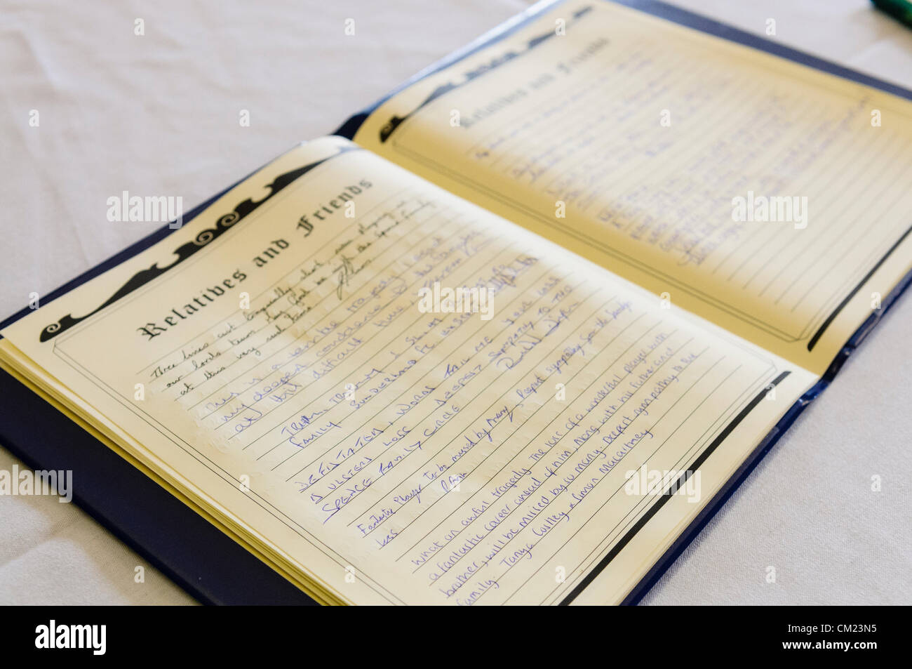 A book of remembrance and condolences for the public to sign after the death of a well loved public figure. - Stock Image