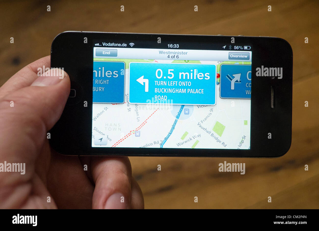 Car navigation with turn-by-turn directions on the new Apple Maps application.  Apple's new Maps application - Stock Image