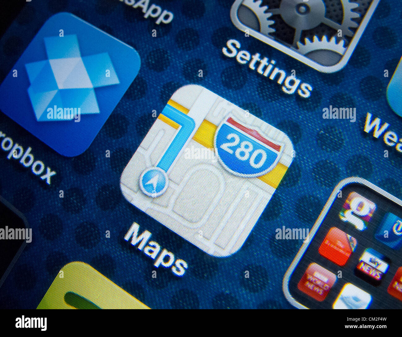 Detail of new Maps app on iPhone screen. Apple's new Maps application has been criticised by users for providing Stock Photo