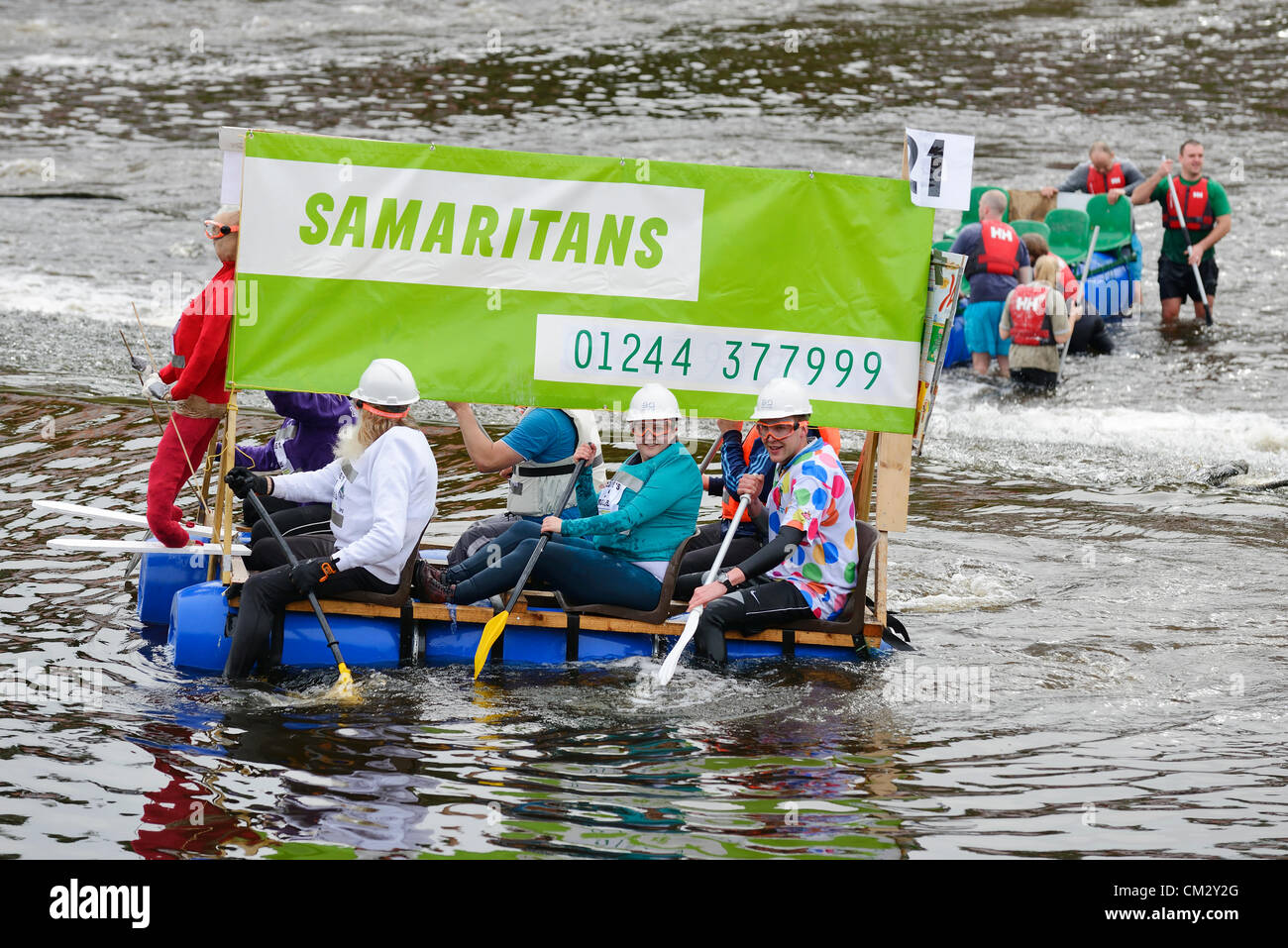 Chester, UK, Sunday 23rd September 2012.  The annual charity raft race on the River Dee organised by The Rotary - Stock Image