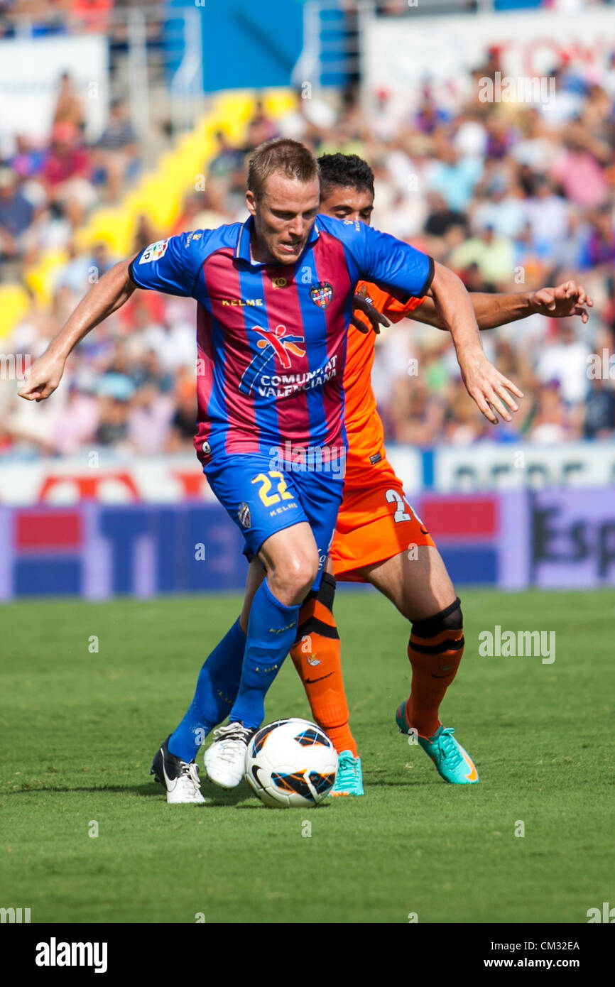23.09.2012 Valencia, Spain. Levante´s player Chris fights for the ball during the Spanish La Liga game - Stock Image
