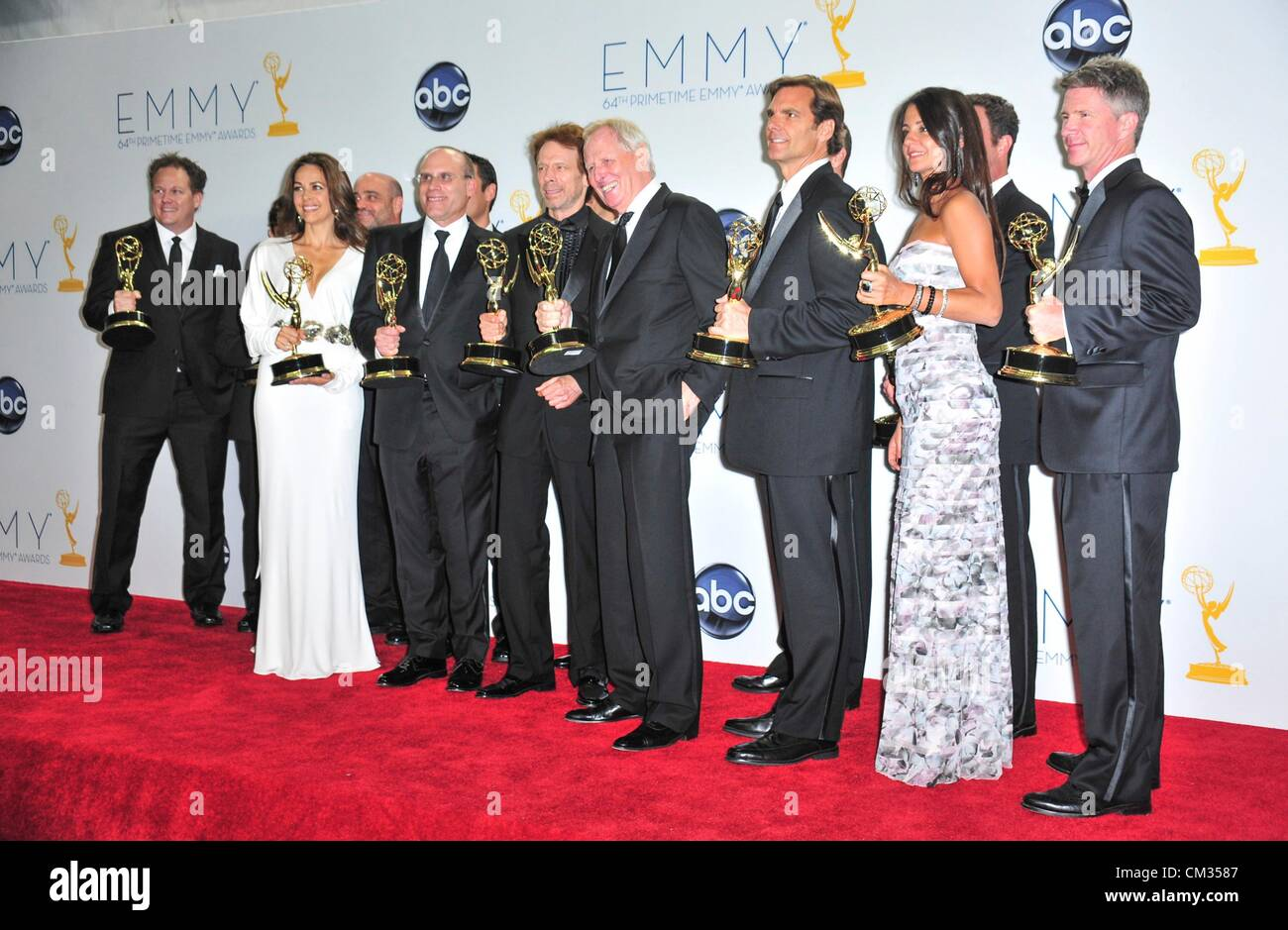 Jerry Bruckheimer Elise Doganieri Bertram van Munster Jonathan Littman inpress room64th Primetime Emmy Awards - - Stock Image