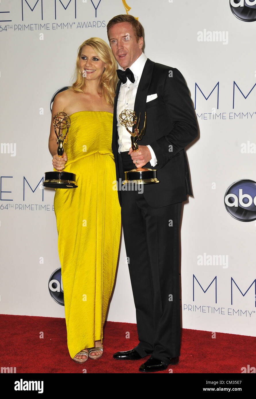 Sept. 23, 2012 - Los Angeles, California, U.S. - Pregnant actress CLAIRE DANES wearing a strapless Lanvin gown and - Stock Image