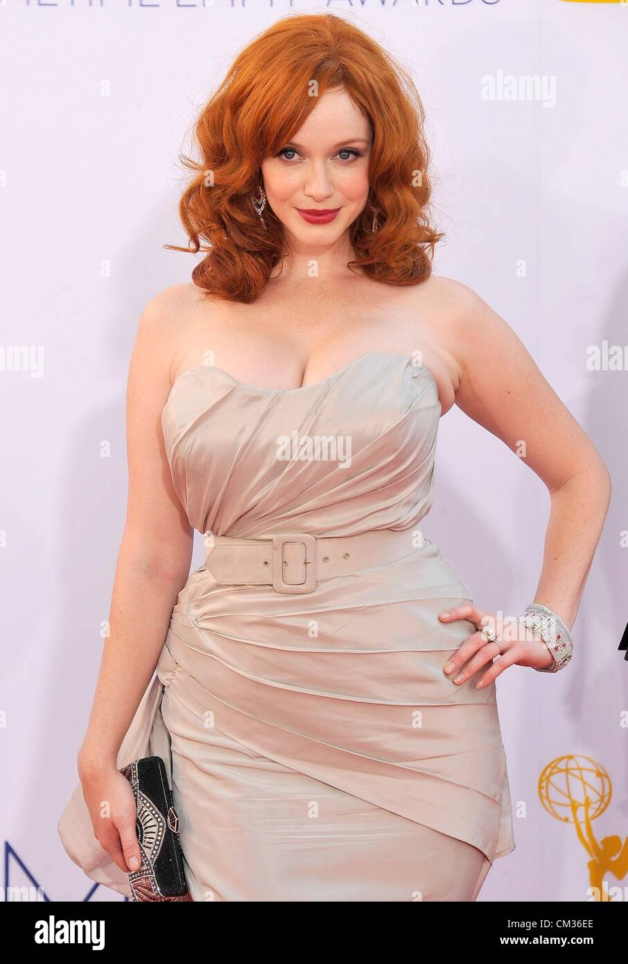 Christina Hendricks arrivals64th Primetime Emmy Awards - ARRIVALS Nokia Theatre L.A LIVE Los Angeles CA September - Stock Image