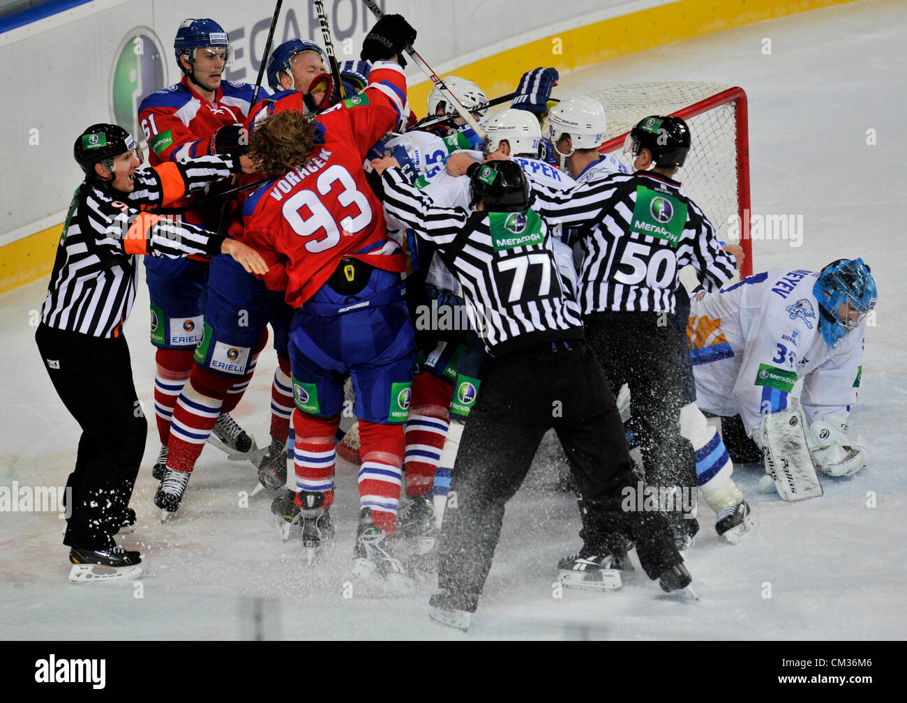 Fight by the goal of Astana during the Kontinental Hockey League ...