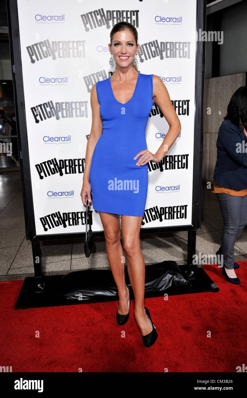 Tricia Helfer arrivals PITCH PERFECT Premiere Arclight Hollywood Los Angeles CA September 24 2012 Photo Elizabeth - Stock Image