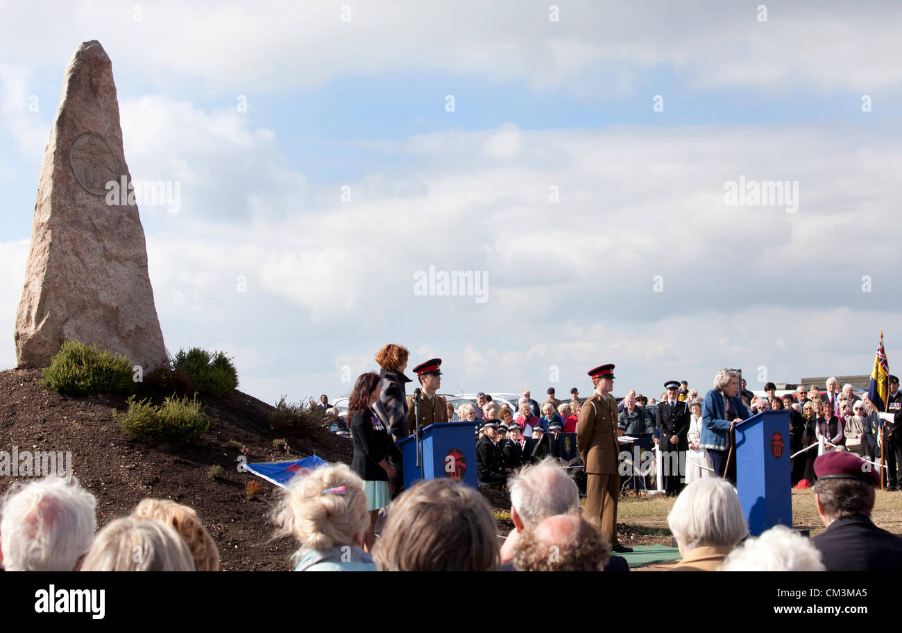 Hayling Island, Hampshire, UK, 27th Sept, 2012. Actresses Anna Chancellor and Wendy Adam Evans watch Countess Mountbatten, - Stock Image