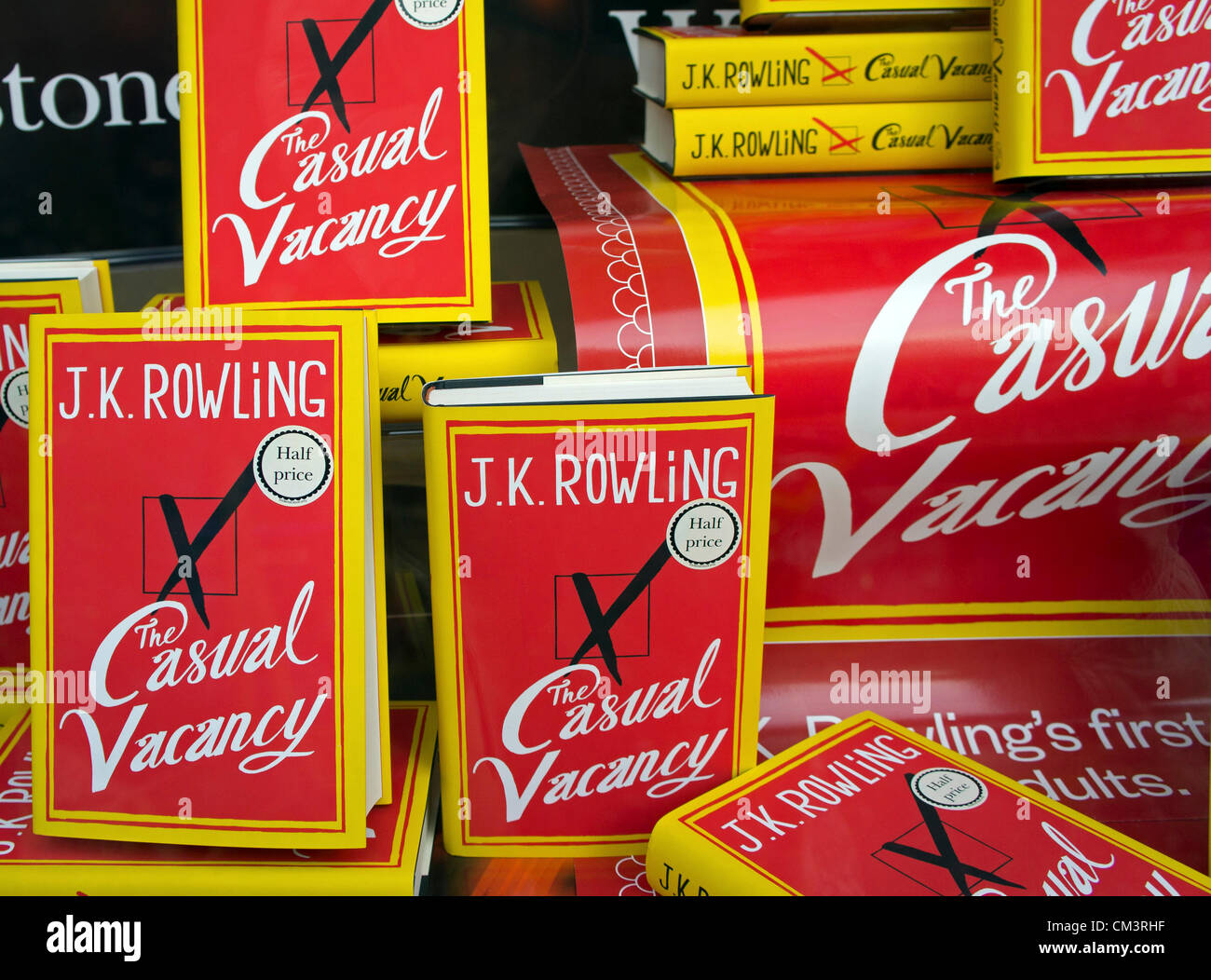 ' The Casual Vacancy ' is the new novel by the author J.K.Rowling on sale in Truro, Cornwall, 28th September - Stock Image