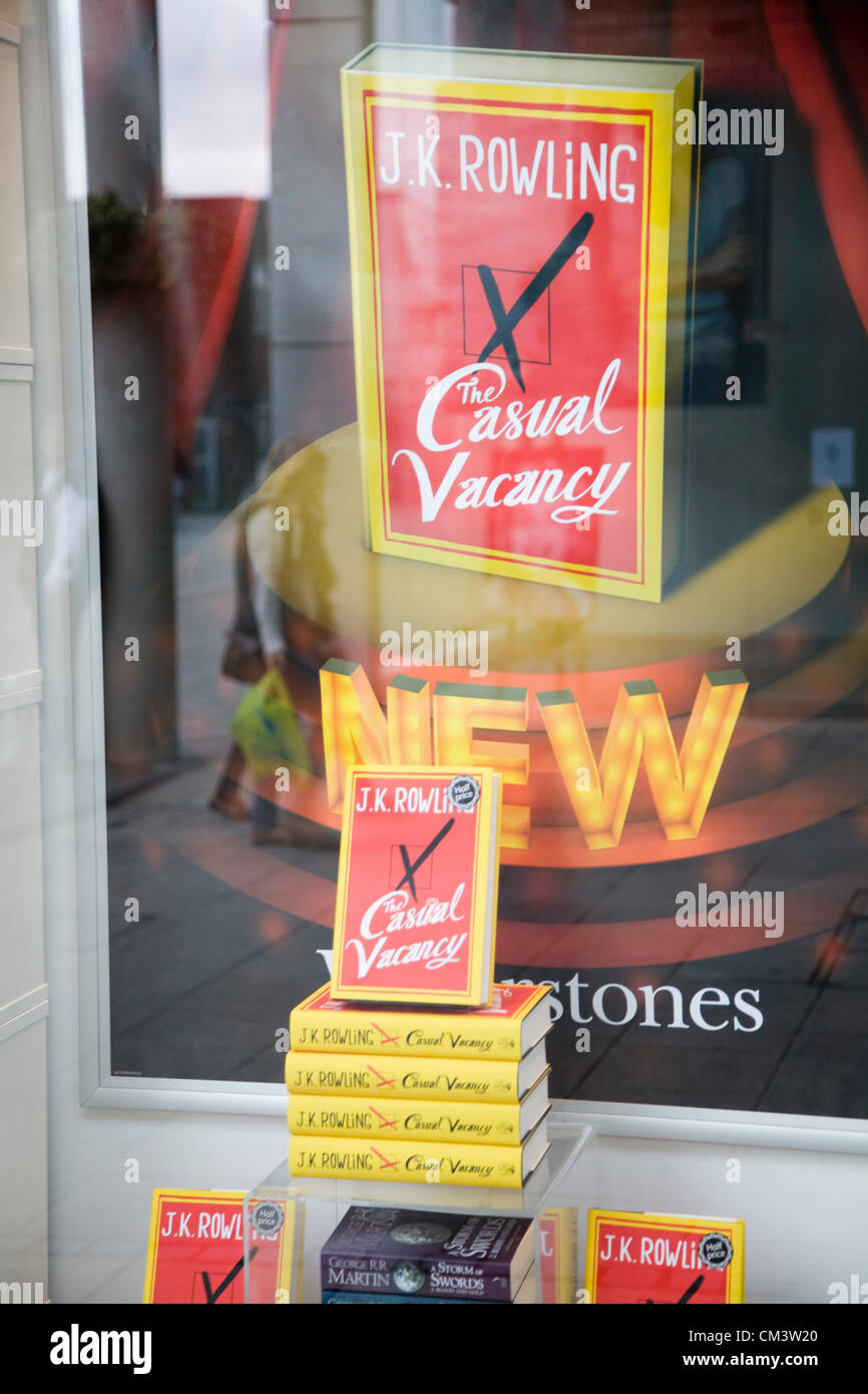 J.K Rowling Casual Vacancy book on sale in Waterstones bookshop, Bury St Edmunds, Suffolk, England September 28th - Stock Image