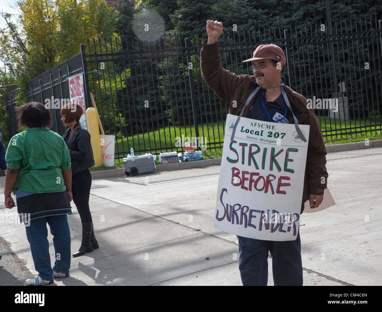 Detroit, Michigan - Workers at the Detroit Water and Sewerage Department walked off the job, protesting a management - Stock Image