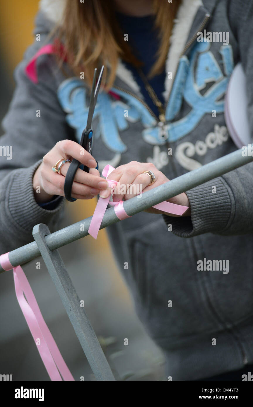 Machynlleth, Powys, Wales. 5th October 2012. 25 year old GWEN HAYLOCK ties pink ribbons on the streets of Machynlleth - Stock Image