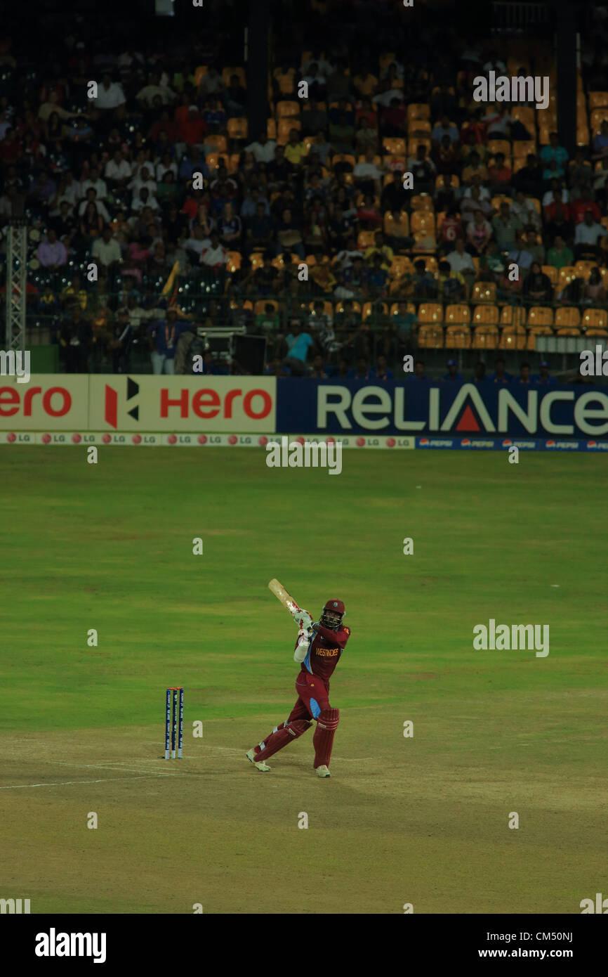 Colombo, Sri Lanka. 5th October 2012. Colombo, Sri Lanka. 5th October 2012. West Indies batsman Chris Gayle during - Stock Image