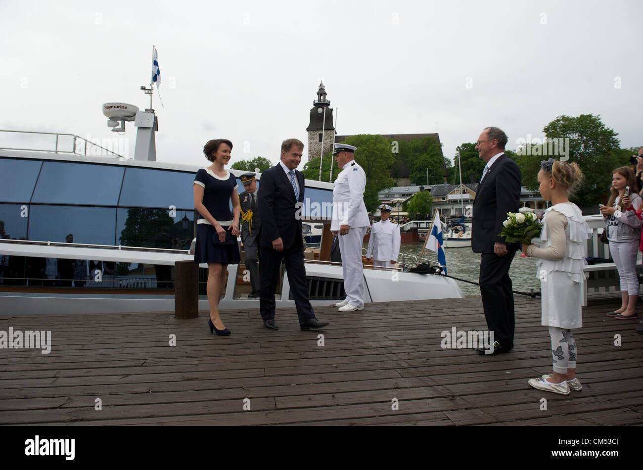 June 16, 2012. Naantali, Finland. President of Finland Sauli Niinistö and his wife Jenni Haukio  are visiting - Stock Image