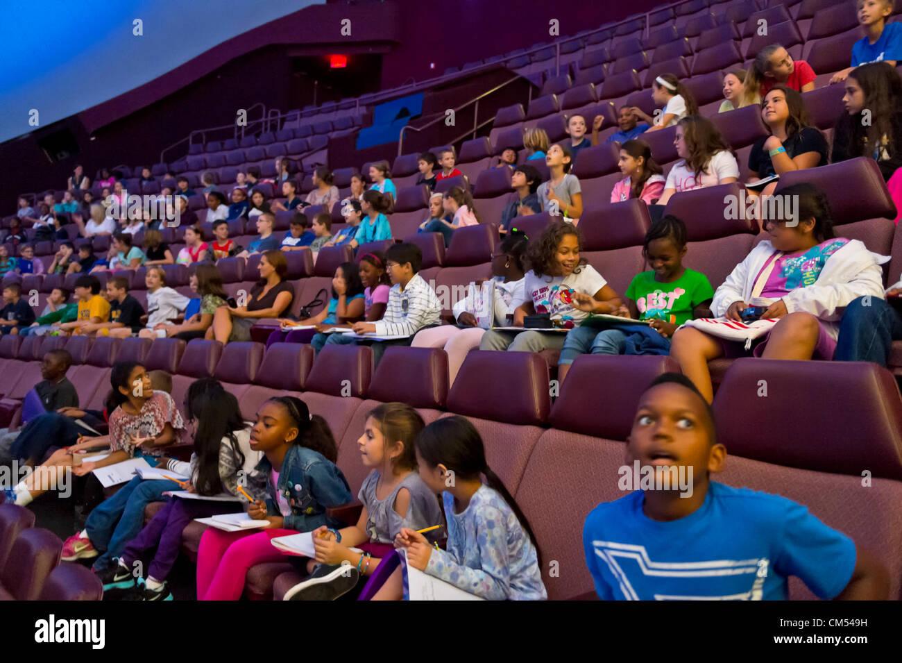 Oct 4, 2012 - GARDEN CITY, NEW YORK U.S. - At new JetBlue Sky Theater Planetarium at Cradle of Aviation Museum, - Stock Image