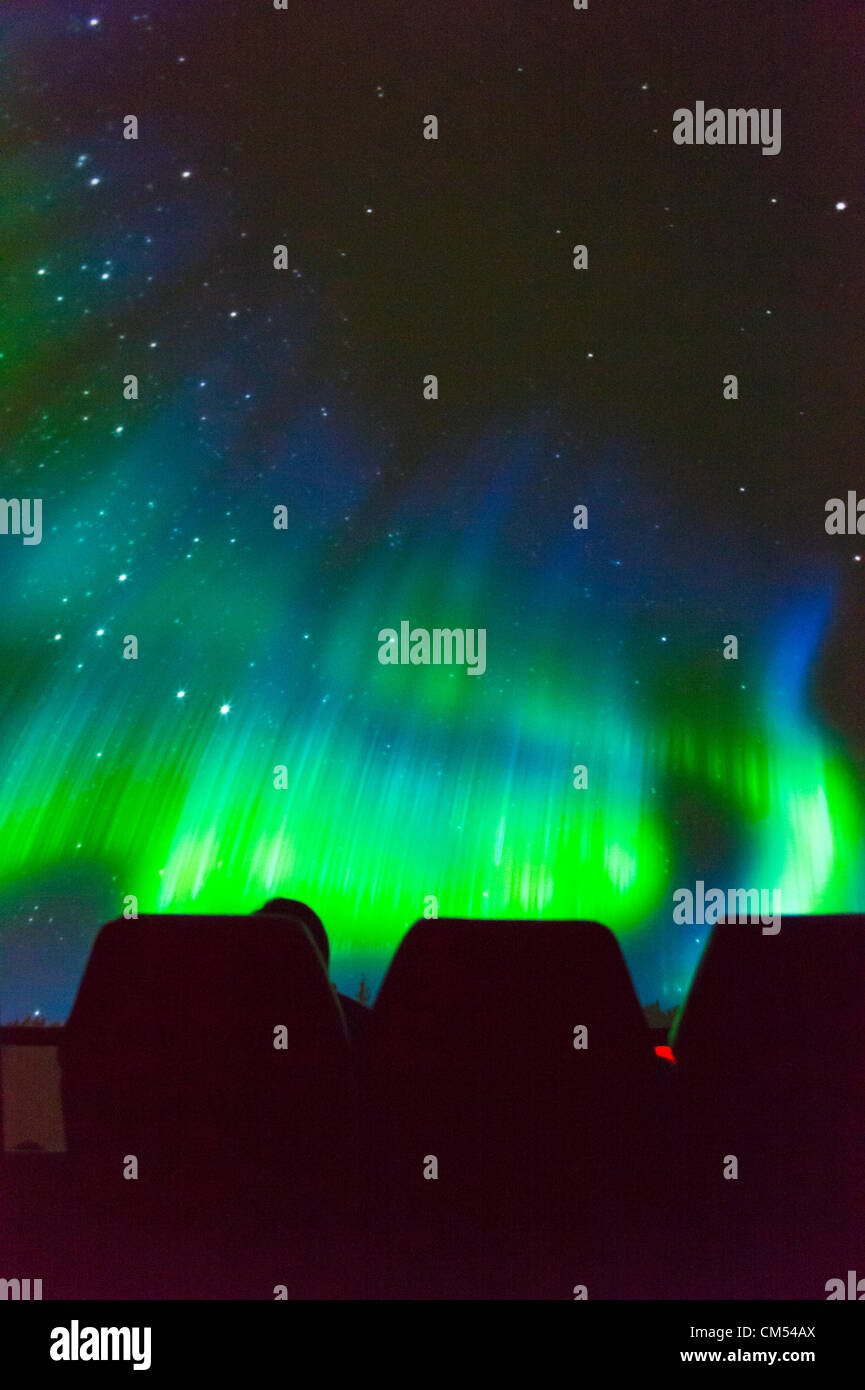 Oct 4, 2012 - GARDEN CITY, NEW YORK U.S. - At the new JetBlue Sky Theater Planetarium at Cradle of Aviation Museum, - Stock Image