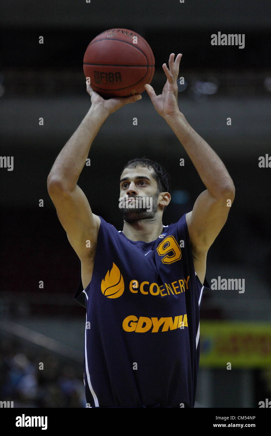Sopot, Poland 6th, October 2012 Polish basketball extraleague - Tauron Basket Liga. Robert Rothbart (9) in action - Stock Image