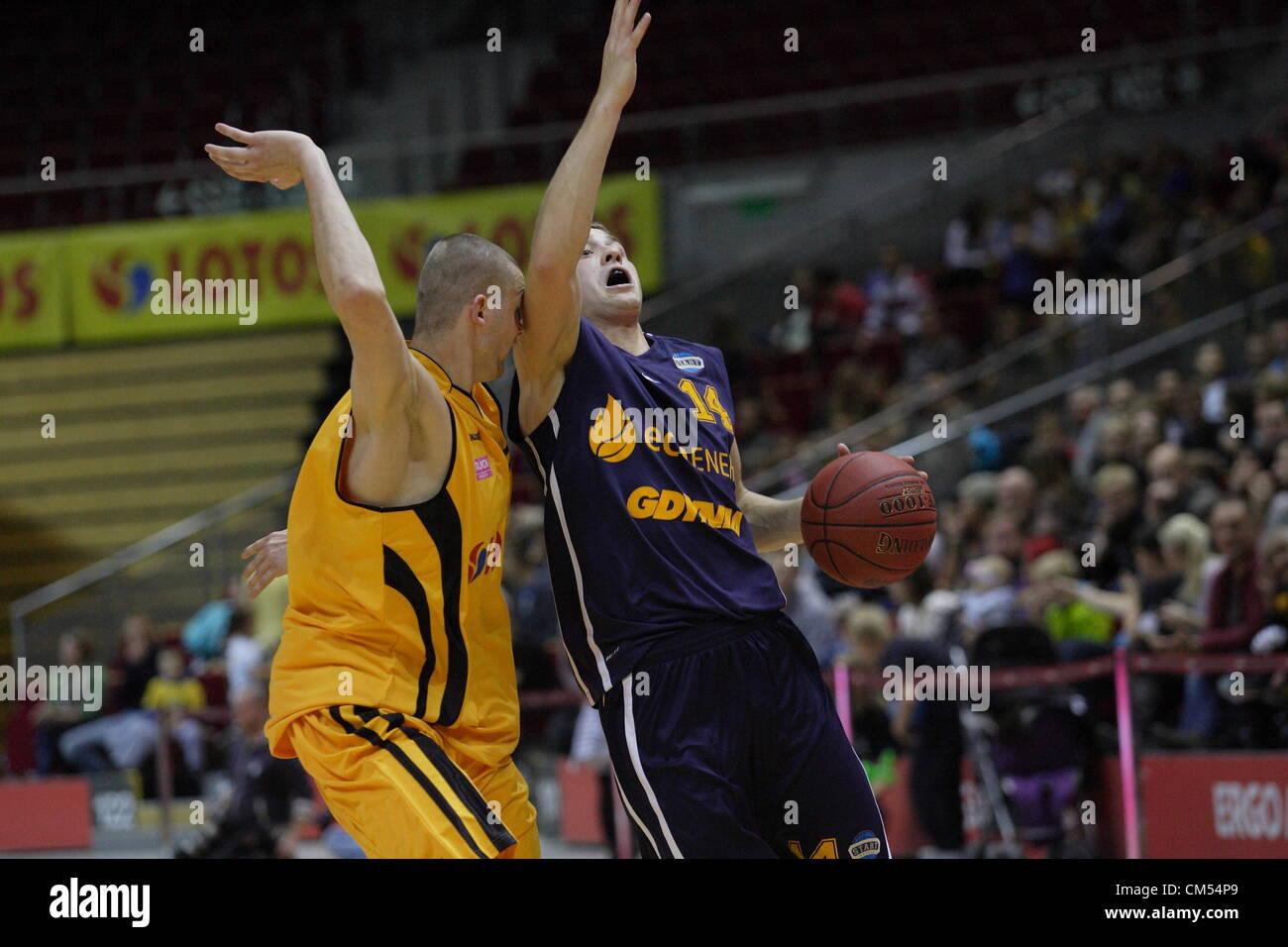 Sopot, Poland 6th, October 2012 Polish basketball extraleague - Tauron Basket Liga.Michal Jankowski (14) in action - Stock Image