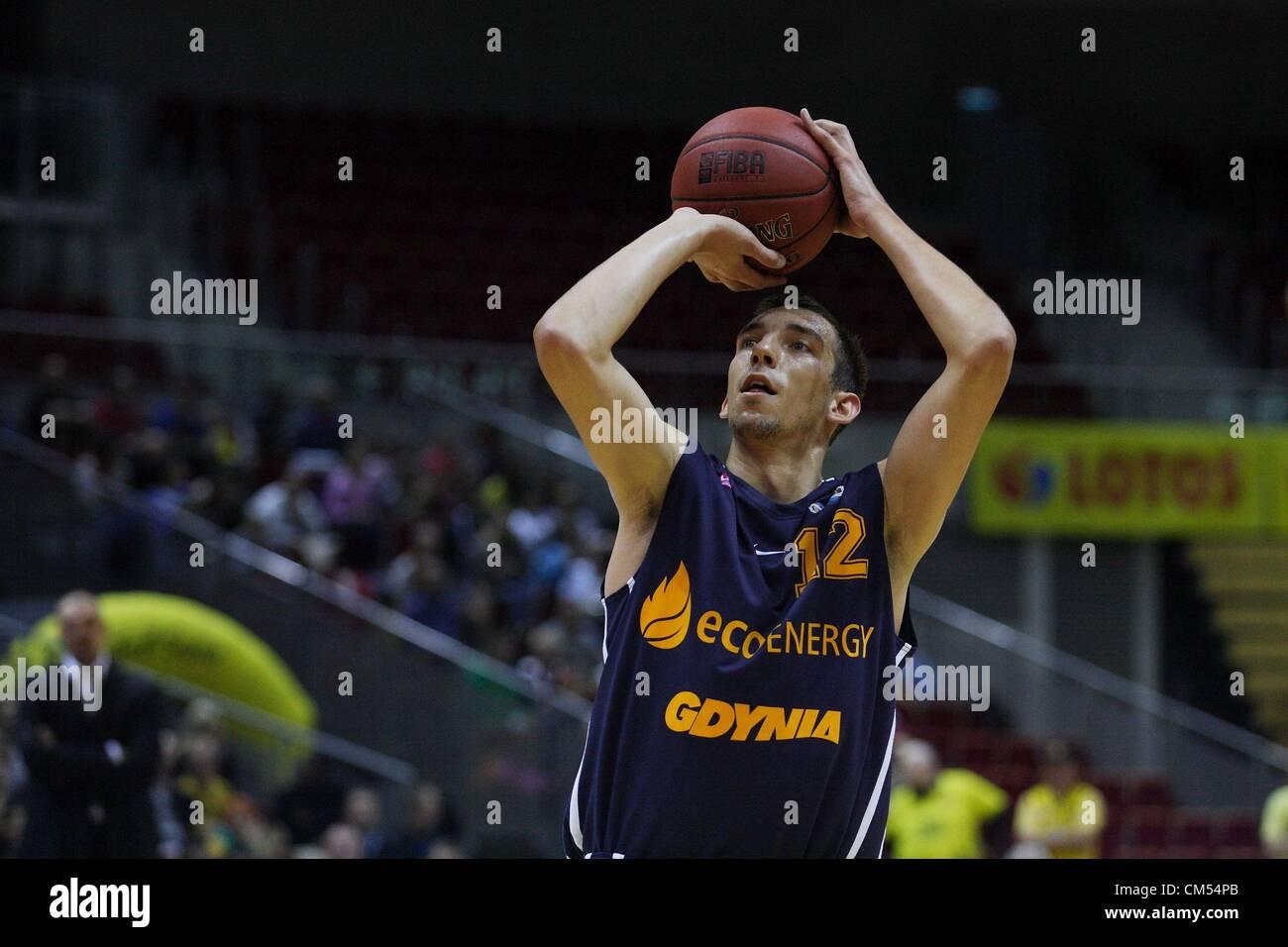 Sopot, Poland 6th, October 2012 Polish basketball extraleague - Tauron Basket Liga. Jaroslaw Mokros (12) in action - Stock Image