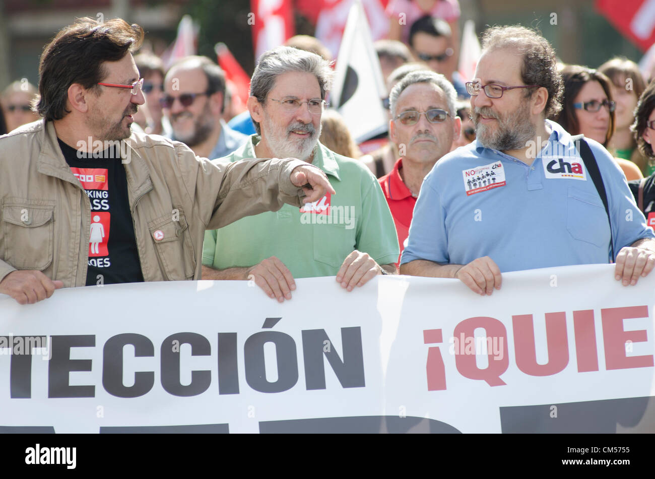 All Spanish social organizations, unions and others, called to the citizens of 57 spanish capitals to a demonstration - Stock Image
