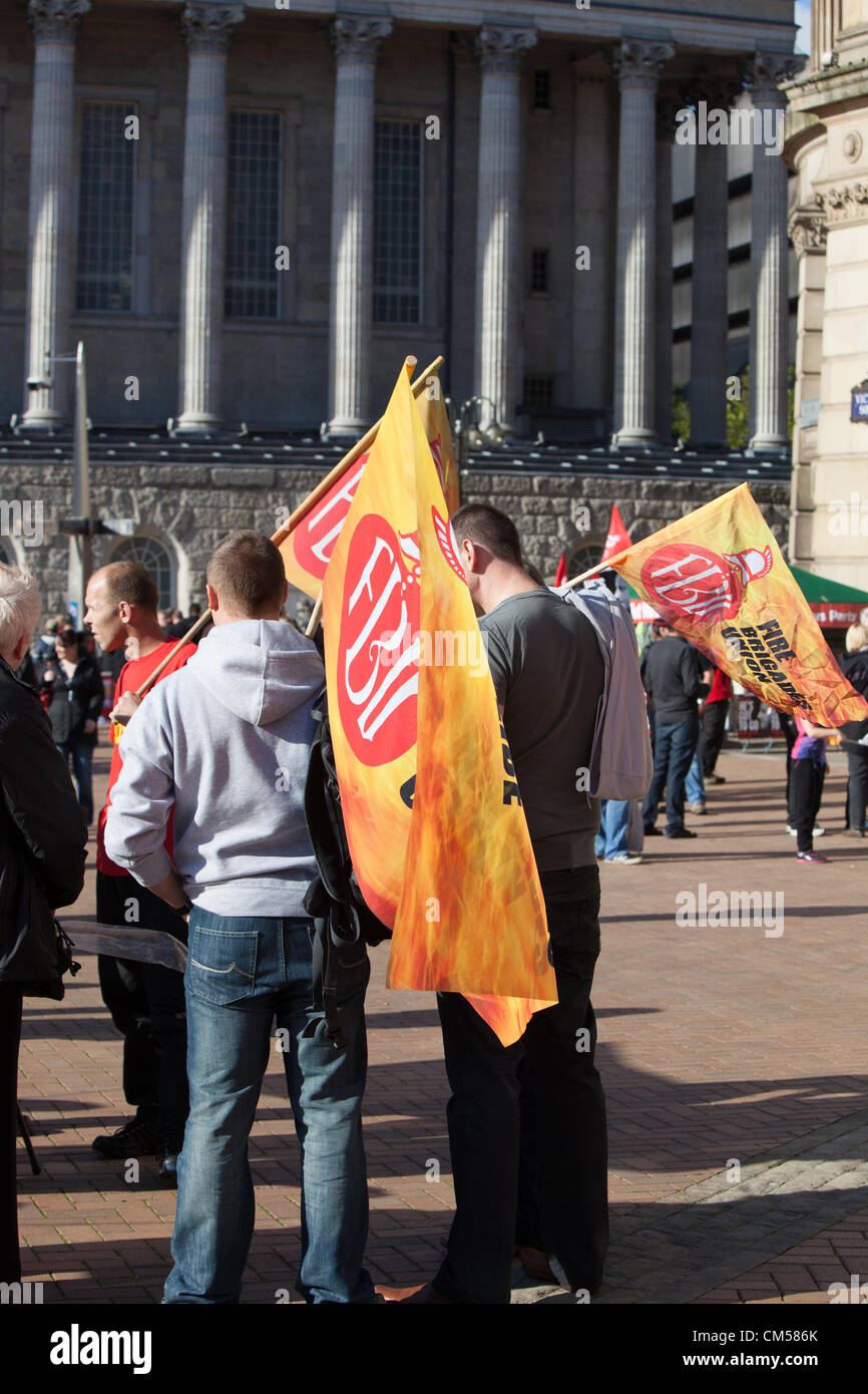 7th October 2012 Birmingham UK. TUC rally and demonstration at Tory Party conference, Birmingham. Fire Brigade Union - Stock Image