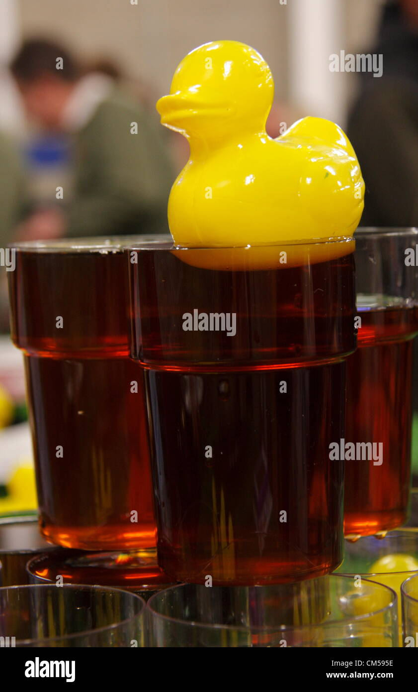 Plastic duck floating on real ale brewed by Derby's Dancing Duck Brewery, Beer2Net2 Festival, Proact Stadium, - Stock Image