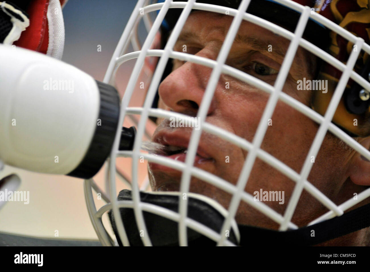 FILE - In this July 21, 2010 file photo, Czech ice hockey goalie Dominik Hasek is seen during KHL as a new goalie - Stock Image