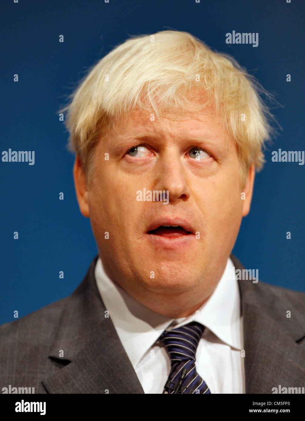 BORIS JOHNSON MAYOR OF LONDON 09 October 2012 THE ICC BIRMINGHAM ENGLAND - Stock Image