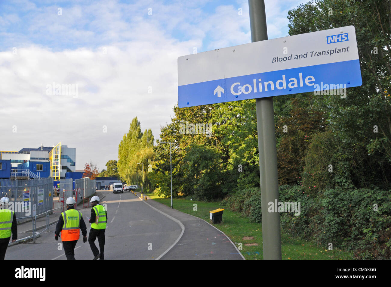 Colindale, London, UK.  10th October 2012. The main road that leads to the NHS centre. The Blood Testing centre - Stock Image