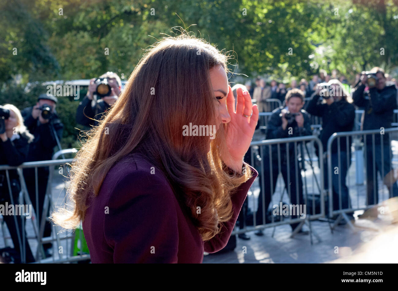 Newcastle, UK. 10th October 2012. The Duchess of Cambridge is seen visting Elswick Park. She was informed that it Stock Photo