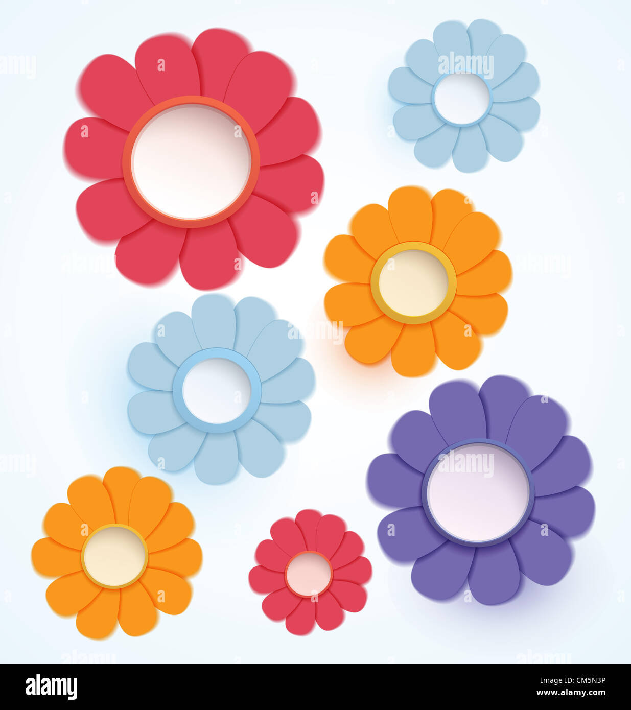 Raster illustration paper crafted colorful daisy flowers - Stock Image