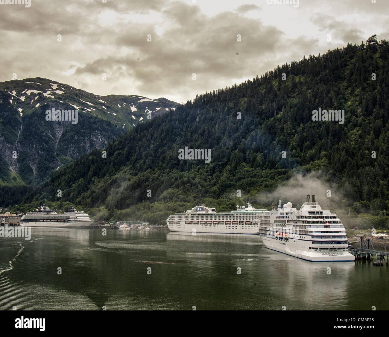 July 5, 2012 - Borough Of Juneau, Alaska, US - The Celebrity Century, Princess Cruises Sea Princess and the Regent - Stock Image