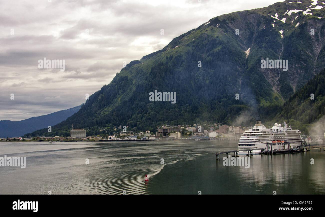 July 5, 2012 - Borough Of Juneau, Alaska, US - Juneau, Capital of Alaska, seen from the Gastinaeau Channel, sits - Stock Image