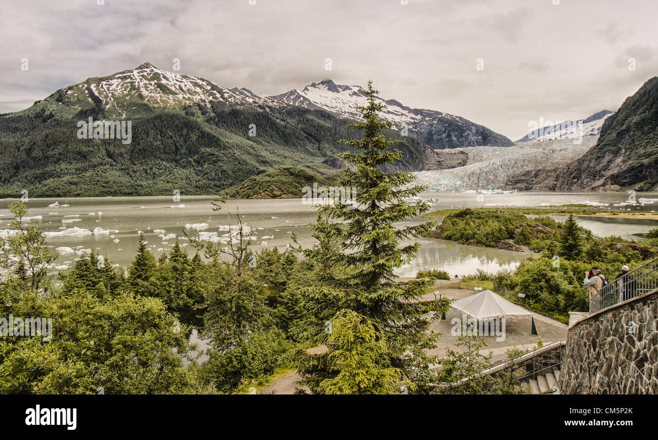 July 5, 2012 - Borough Of Juneau, Alaska, US - Mendenhall Glacier and Mendenhall Lake, surrounded by the majestic - Stock Image