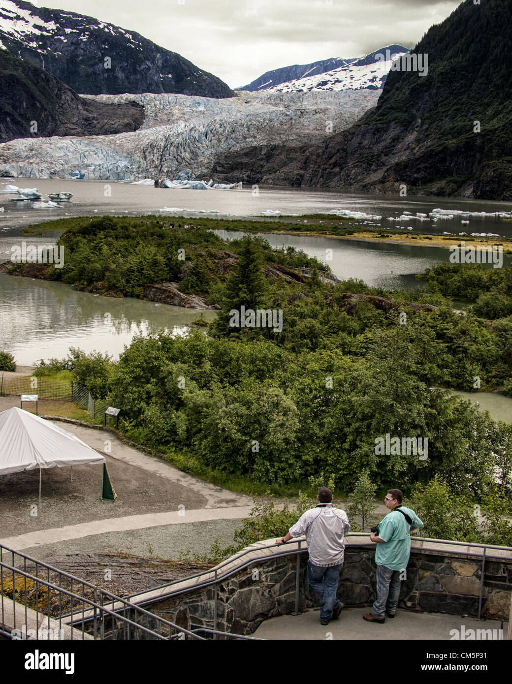 July 5, 2012 - Borough Of Juneau, Alaska, US - Mendenhall Glacier, surrounded by the majestic Coast Mountain Range, - Stock Image