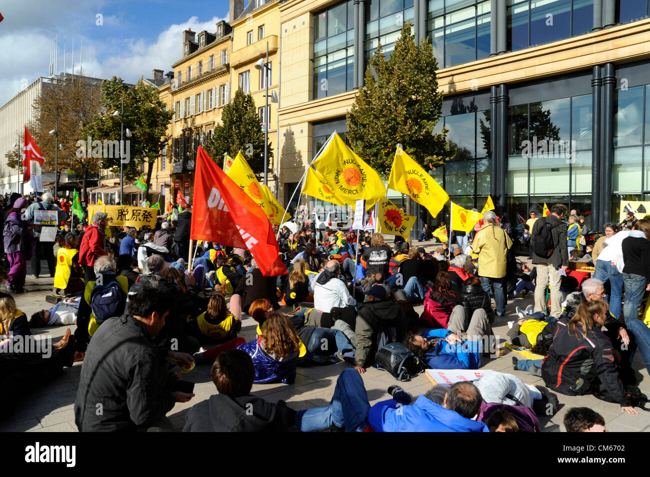 13.10.2012 Metz, France - About 600 people demonstrated in the French City of Metz for the shutdown of the nuclear Stock Photo