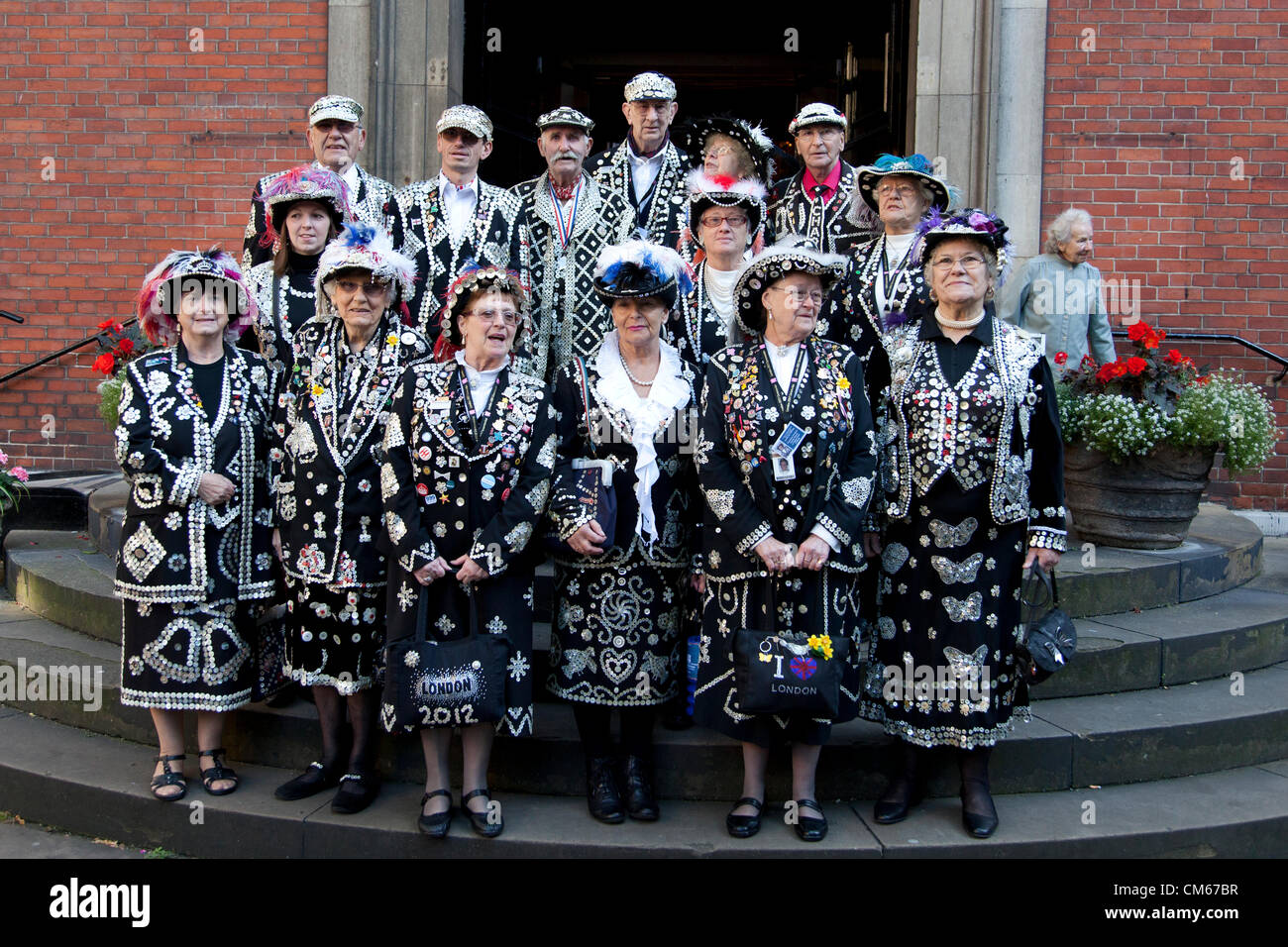 14th Oct 2012,  Pearly Kings & Queens Harvest Festival St. Paul's Church, Covent Garden, London, UK. - Stock Image
