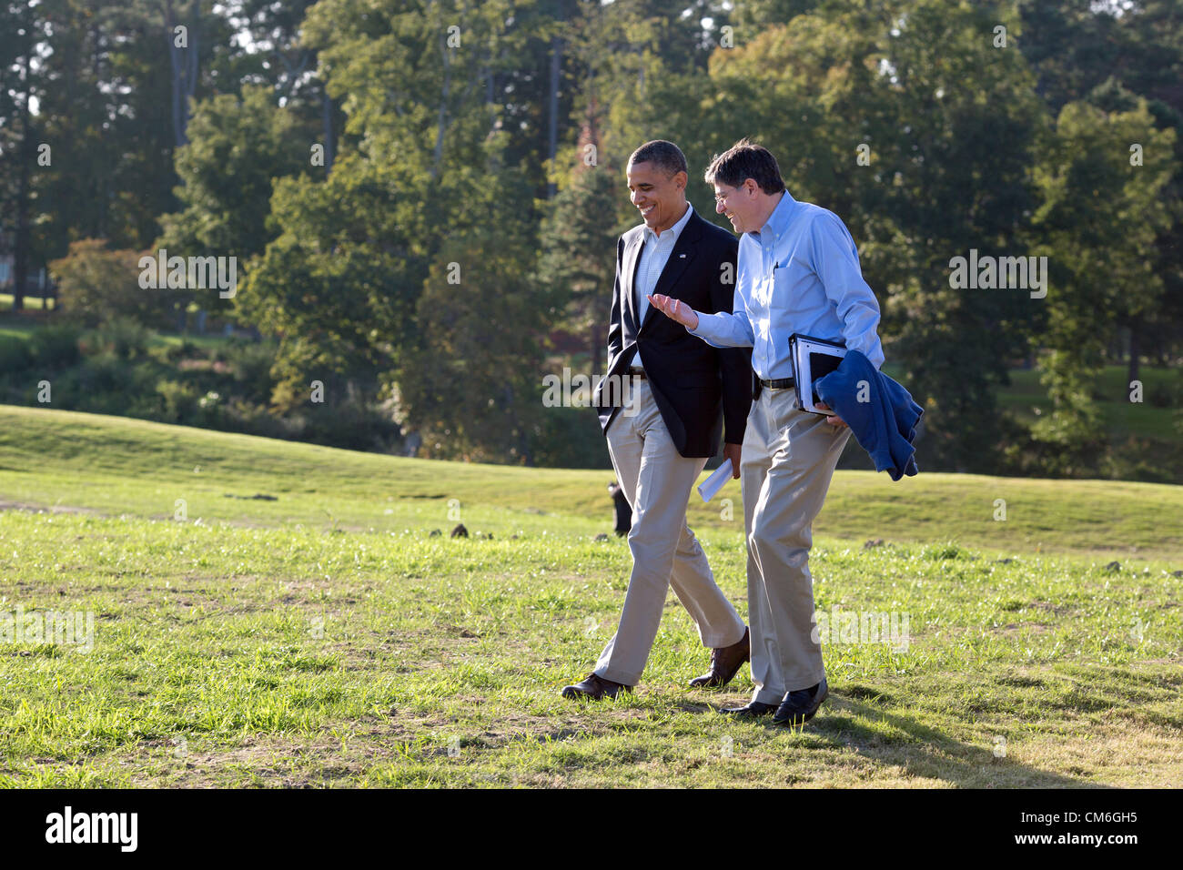 US President Barack Obama walks with Chief of Staff Jack Lew during a break from debate preparations October 14, - Stock Image