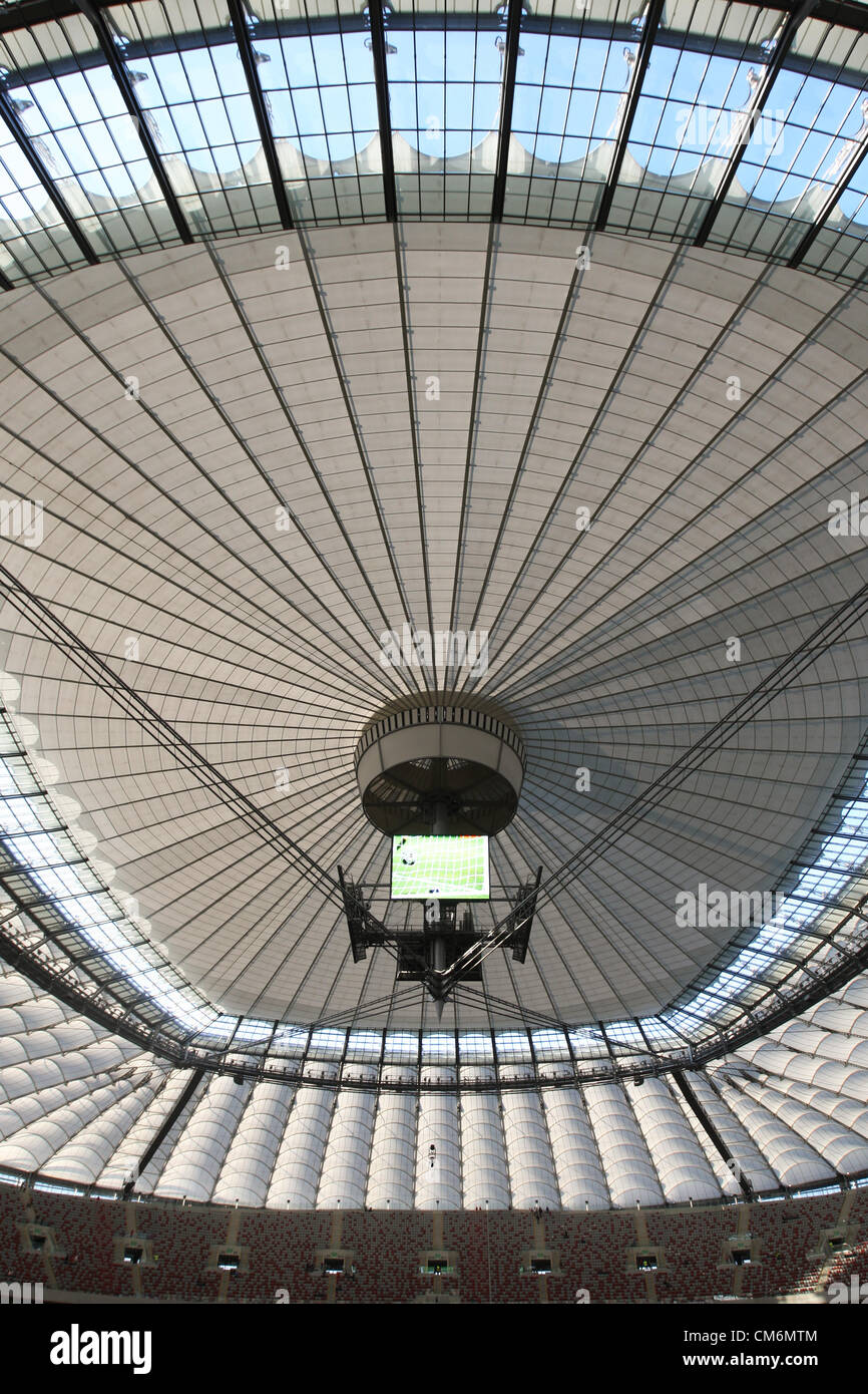Warsaw, Poland. 17th October 2012. World Cup 2014 group stages. The Narodowy Stadium roof tightly closed ahead of - Stock Image