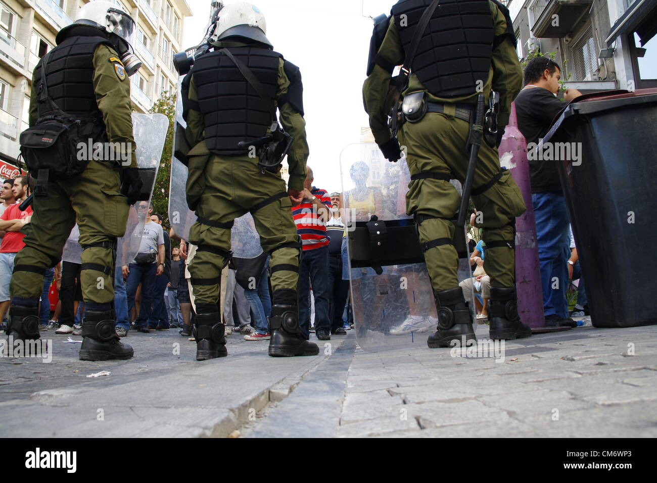 Clashes during union protest, Greece, Athens, 18th October 2012 - Stock Image