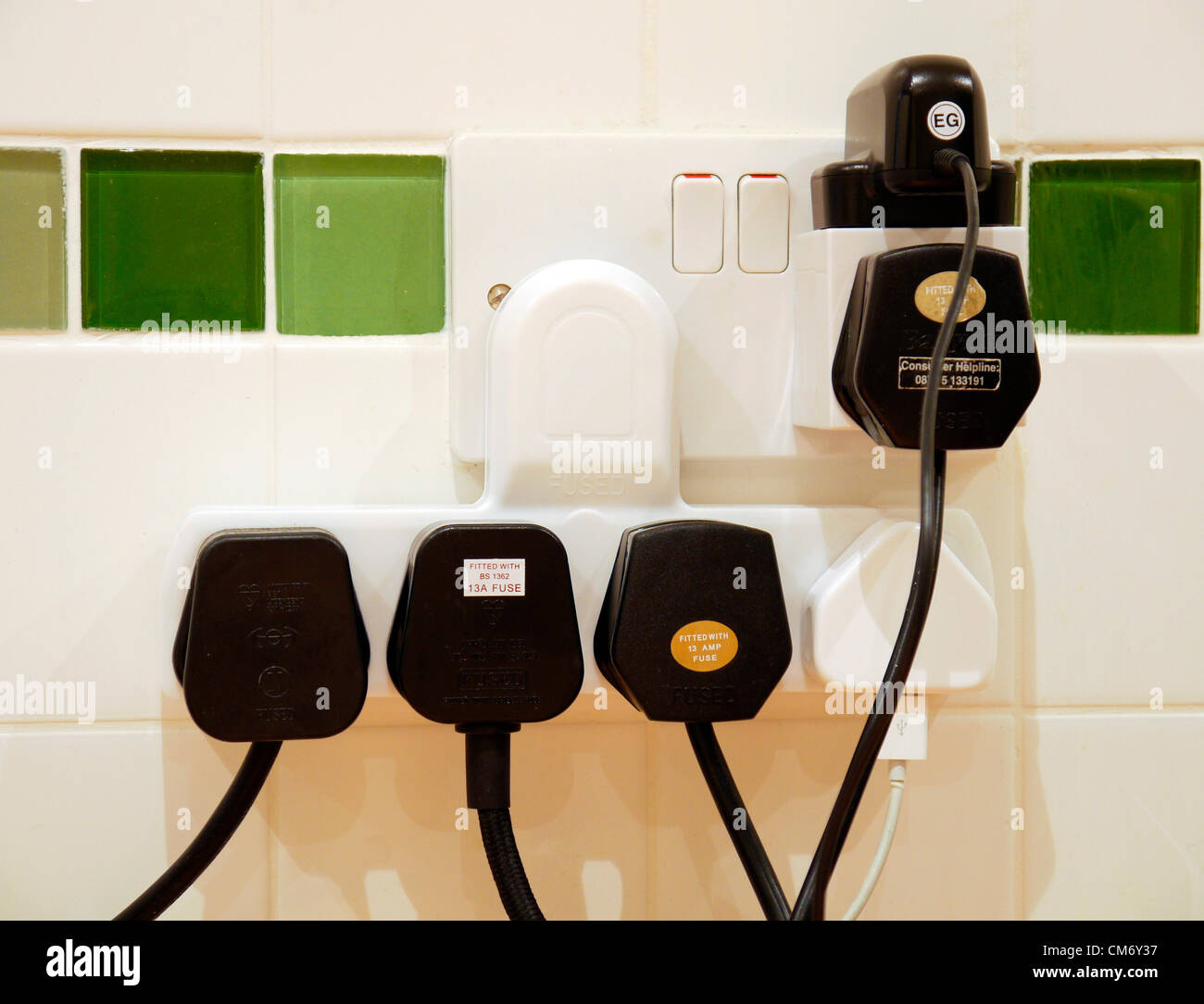 Plug Socket Fire Stock Photos Images Alamy Double Receptacle Wiring An Overloaded Using A Lot Of Electricity Image