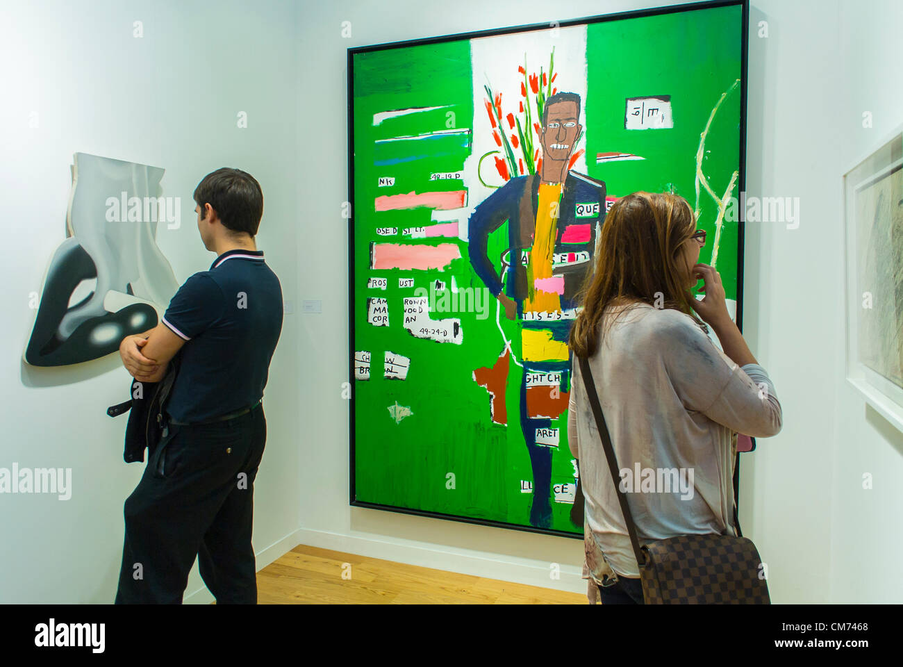 Paris, France, People Visiting Looking Art Galleries, International COntemporary Arts Fair, FIAC, Jean-Michel Basquiat - Stock Image