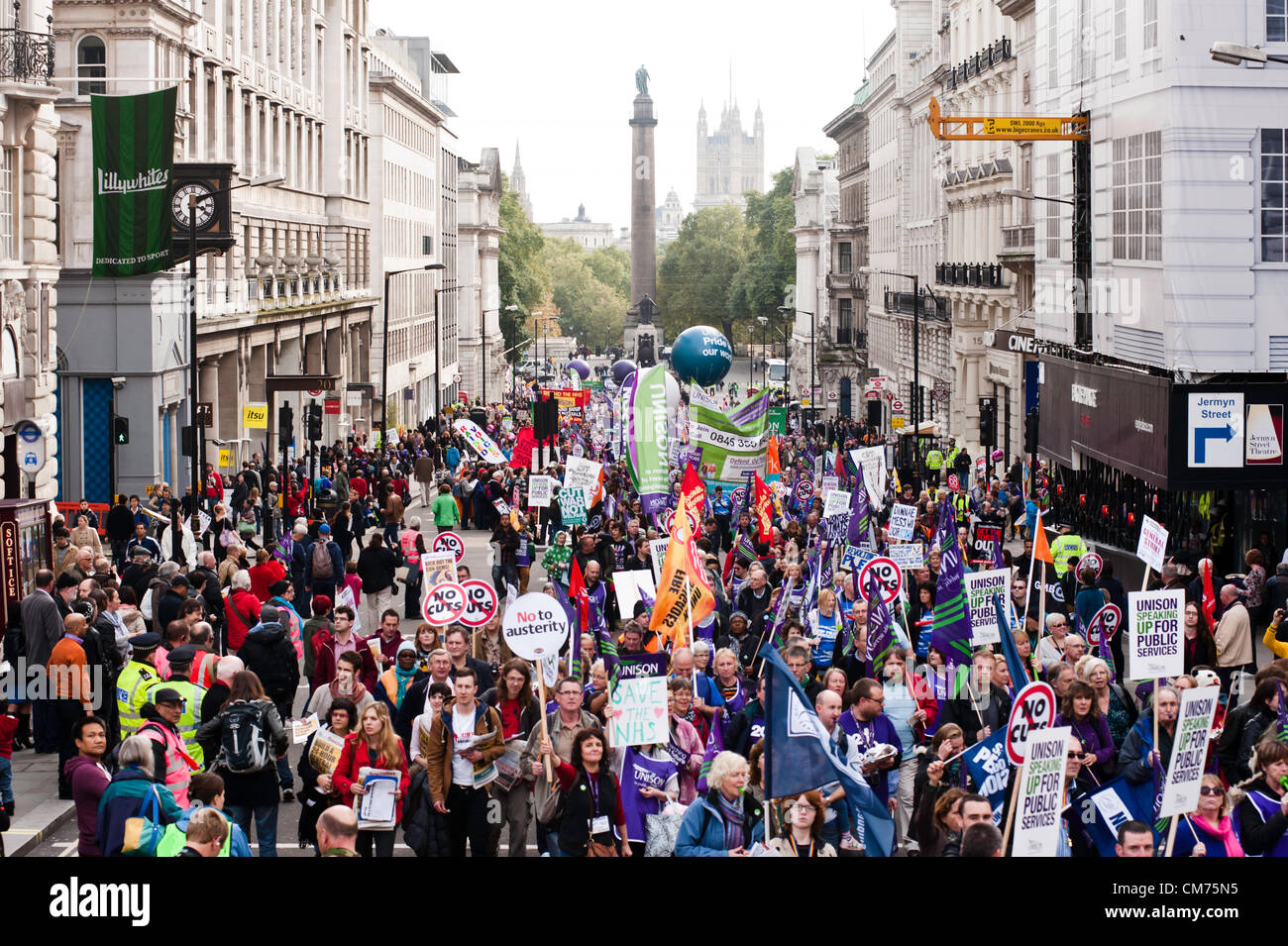 London, UK - 20 October 2012: thousands of protesters join the TUC-organised march 'A future that works' - Stock Image