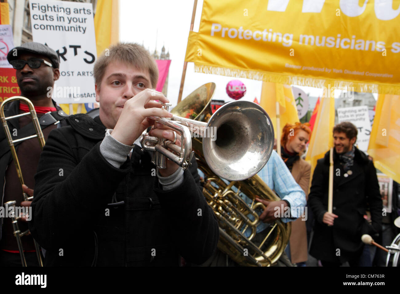 Musicians Union members take part in the TUC anti-austerity march. London, UK. 20th October 2012. - Stock Image
