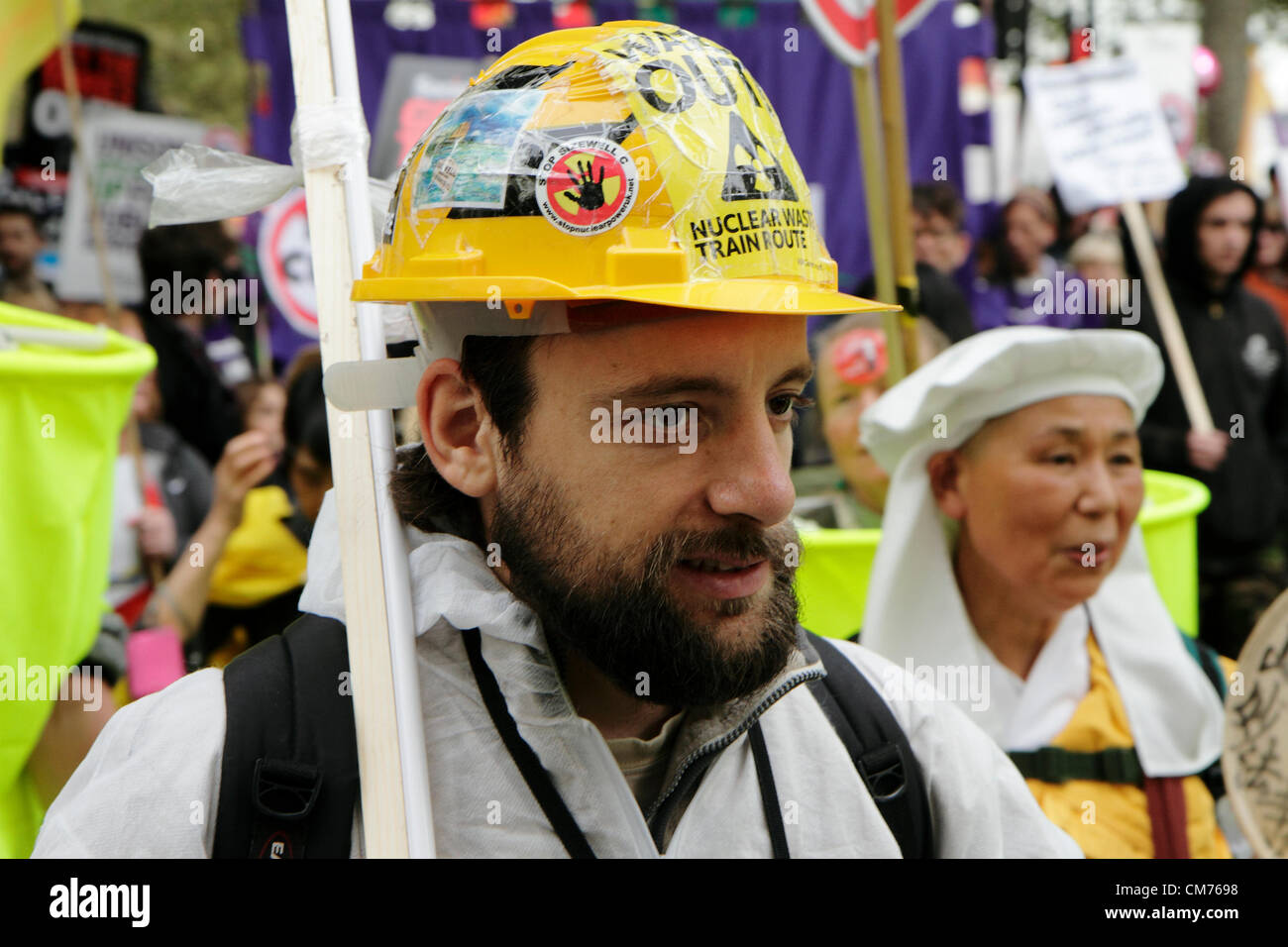 Anti-nuclear energy protestors take part in the TUC anti-austerity march London, England, UK.  Saturday, 20 October - Stock Image