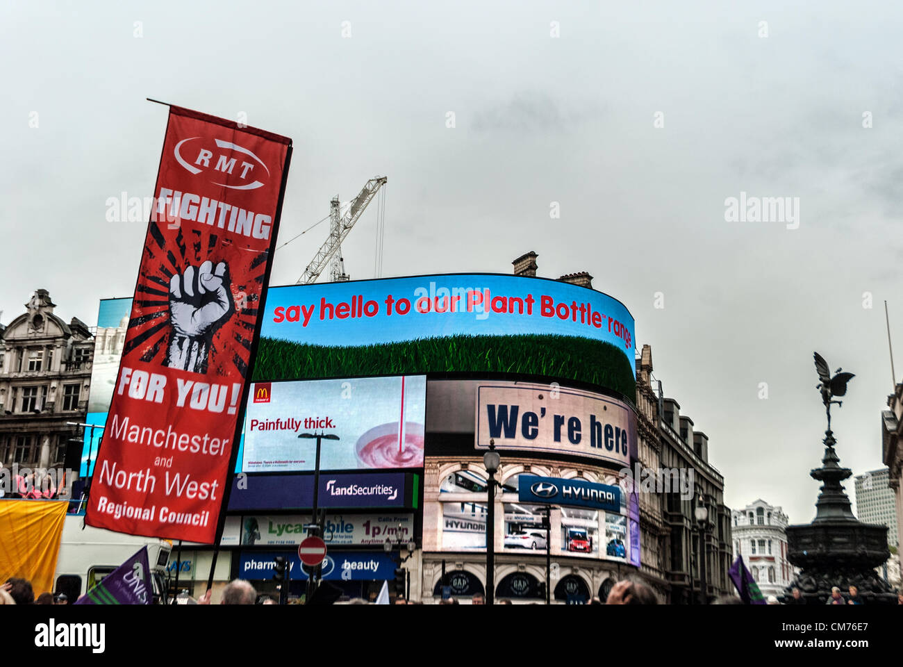 London, UK. 20th October 2012. Thousands of people have marched and said no to austerity in the protest against - Stock Image