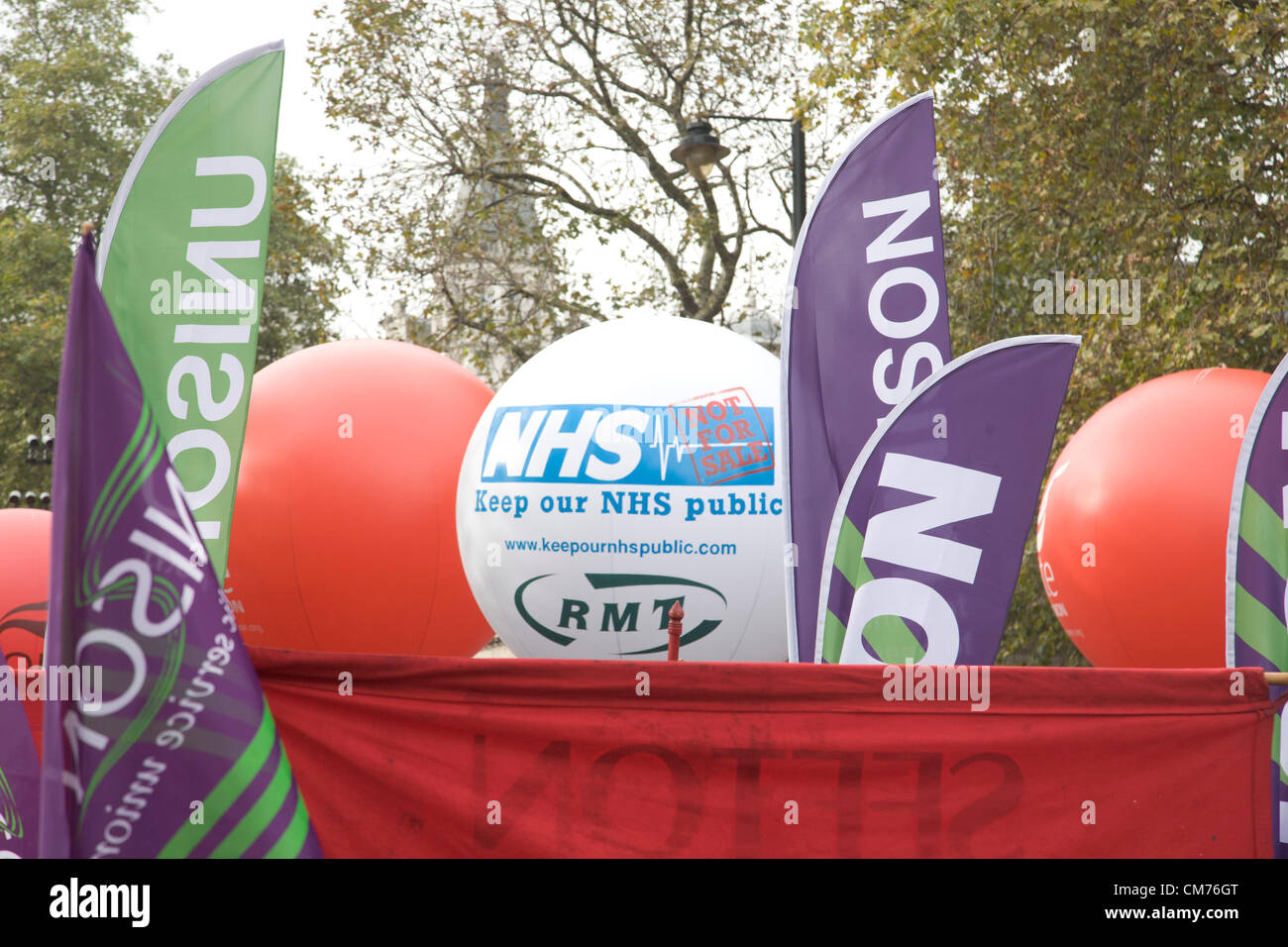 London, UK. 20th October 2012. London UK. Thousands of Union members and campaigners march against government austerity - Stock Image