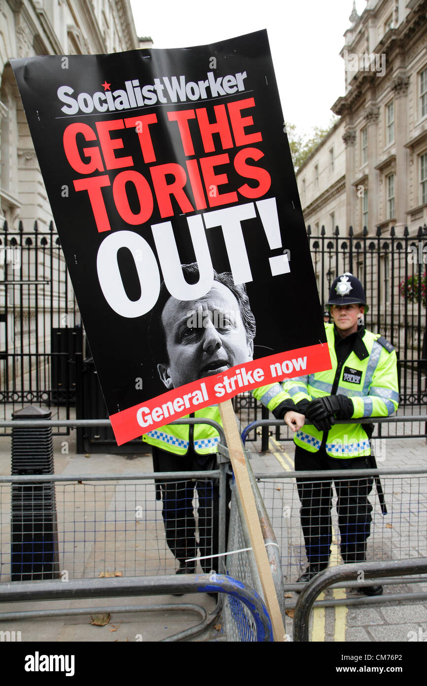 Anti-government placard at the entrance of Downing Street during the TUC anti-austerity march. 20th October 2012 - Stock Image